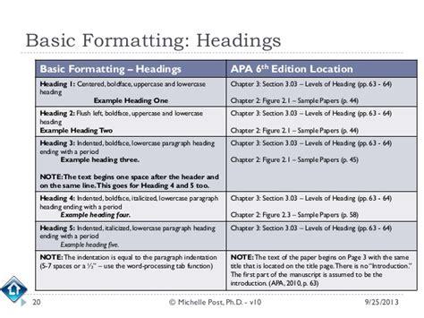 apa section headings apa 6th ed tutorial v10