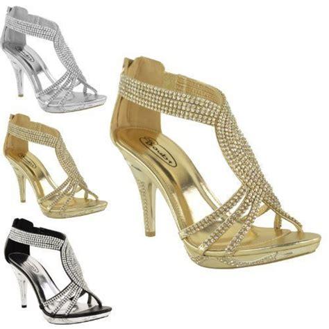 womens diamante high heel prom wedding bridal