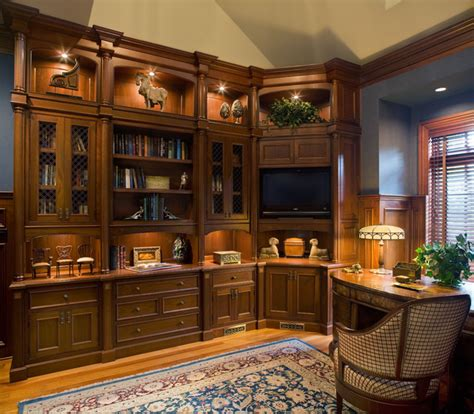 Log Cabin Bedroom Decorating Ideas home library traditional home office new york by