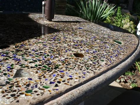 Embedding Glass in Outdoor Concrete Countertops   The