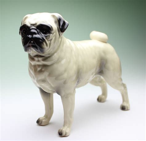 pug figurines fawn pug white standing ceramic porcelain figurine new japan ebay