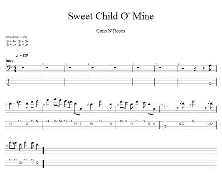 tutorial guitar mine sweet child of mine free bass tab