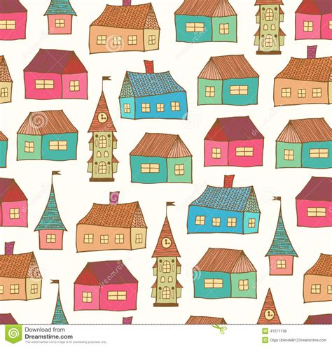 seamless pattern houses seamless pattern with decorative houses city background