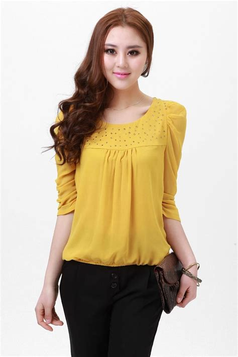 K Blouse s yellow blouse lovely shirt princess blouse fashion shirt many color and m
