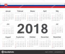Kalendar 2018 Vector Vektor Slovensk 253 Okruh Kalend 225 ř 2018 Stock Vektor