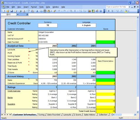 Customer Credit Analysis Template Excel Credit Templates For Customer Credit Reports Credit Scores