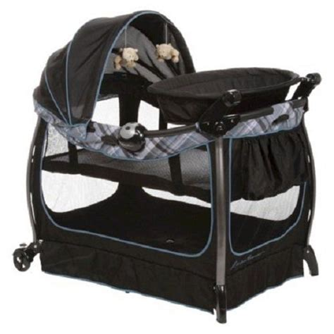 Play Yard With Changing Table Eddie Bauer Complete Play Yard Changing Table Bassinet Clearbrook Blue W Canopy Ebay
