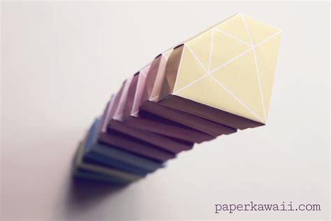 Origami Gem - free printable origami box tutorial paper kawaii