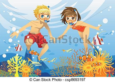 swimming illustrations and clipart can stock photo vectors illustration of kids swimming underwater a