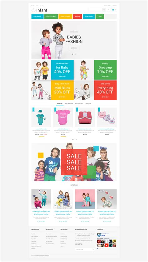 themes for children s clothing baby clothes prestashop theme