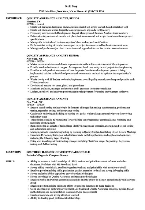Software Quality Assurance Resume Sle by Resume For Quality Assurance Analyst Sanitizeuv