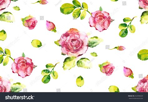 watercolor drawn pattern hand drawn watercolor rose seamless pattern stock vector