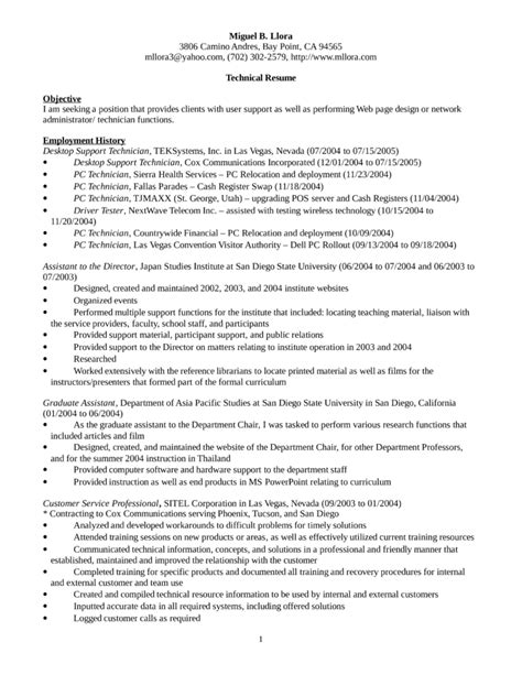 desktop support resume exles executive desktop support technician resume template