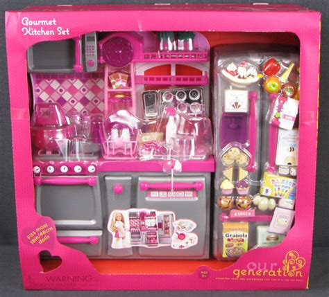 Doll Kitchen Set by Gourmet Kitchen Set Silver Pink Our Generation 18