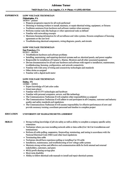 Low Voltage Electrician Sle Resume by Low Voltage Technician Resume Sles Velvet