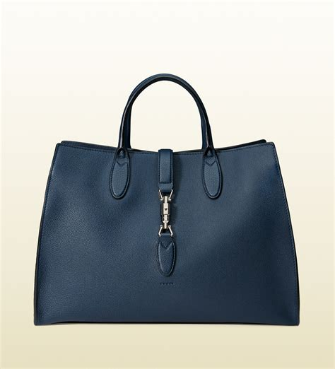 lyst gucci jackie soft leather top handle bag in blue