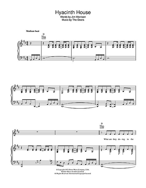 The Doors Hyacinth House by Hyacinth House Sheet By The Doors Piano Vocal