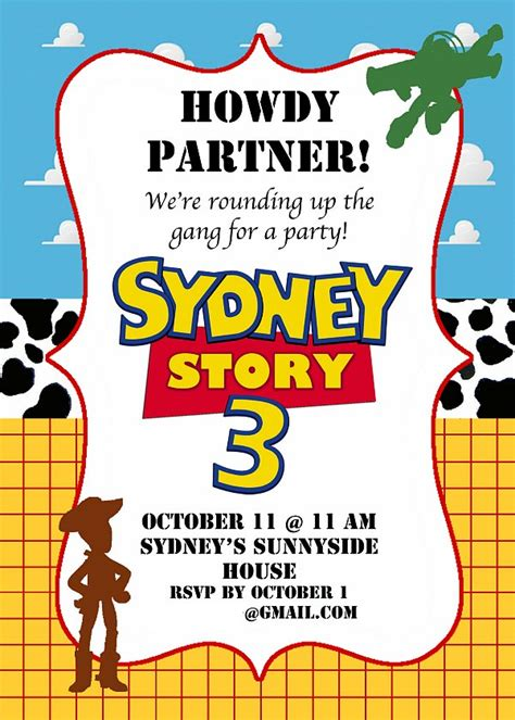 Toy Story Birthday Party Ideas Story Invitation Template Free