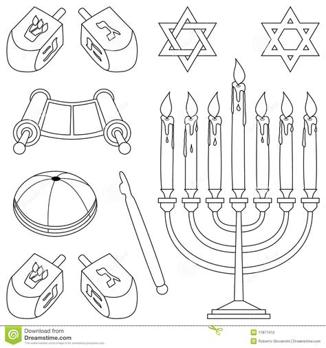 hanukkah symbols coloring pages coloring judaism elements stock photo image 11877410