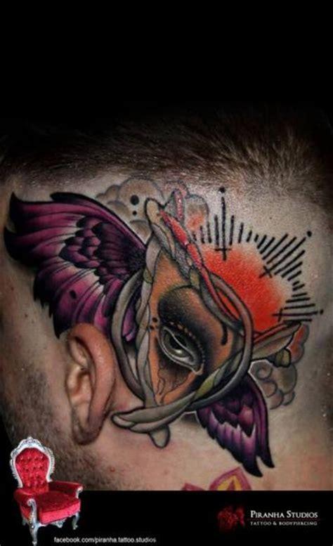 new school tattoo needles abstract eye new school head tattoo by piranha tattoo