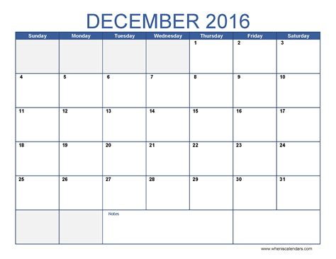 December 2016 Calendar Template blank december calendar templates 2016 printable word pdf
