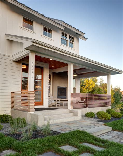 modern porch porch railing ideas entry farmhouse with beams beige