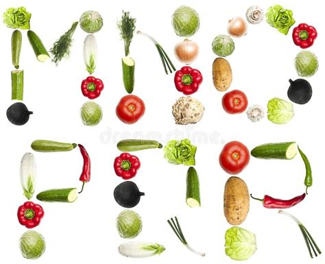 vegetables 5 letters letters made of vegetables royalty free stock images
