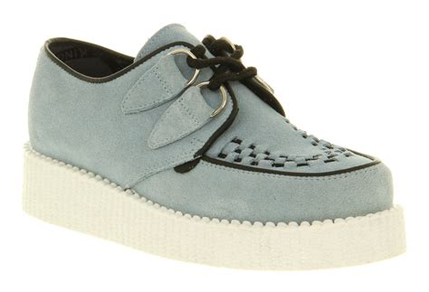 blue and white flat shoes womens underground wulfrun creeper blue white sole lace up