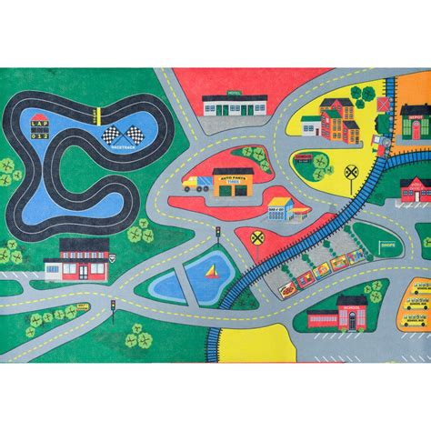 Play Area Rug Trafficmaster Town Multi 36 In X 56 In Play Area Rug Agr3656juvp36 The Home Depot