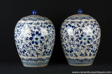 Blue Skies Arabesque pair blue and white porcelain ming urns vases