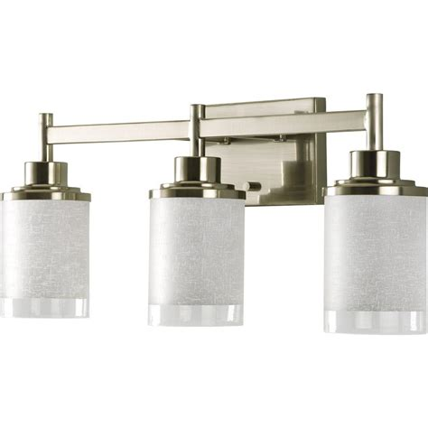home depot vanity lights for bathroom progress lighting alexa collection 3 light brushed nickel