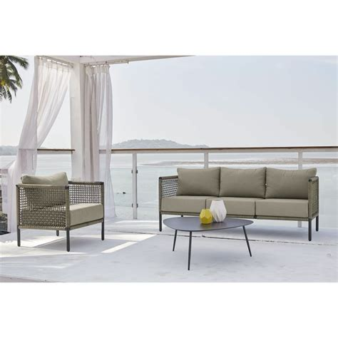 Resin Wicker Sofa by Taupe 3 Seater Resin Wicker Garden Sofa Bermudes Maisons
