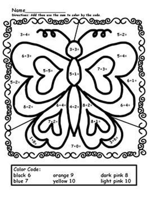 butterfly math coloring page number worksheets simple addition and color by numbers on