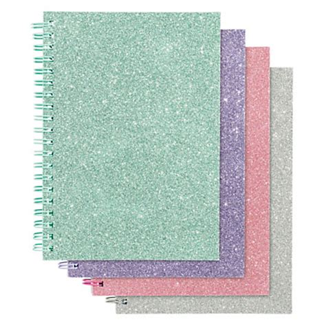office depot glitter notebook 5 x 7 wide ruled 160 pages