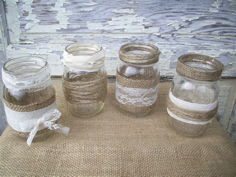 12 burlap lace mason jar centerpieces mason jar wedding