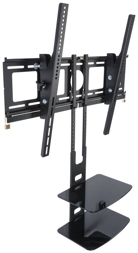 tilting tv bracket with tier shelving black finish