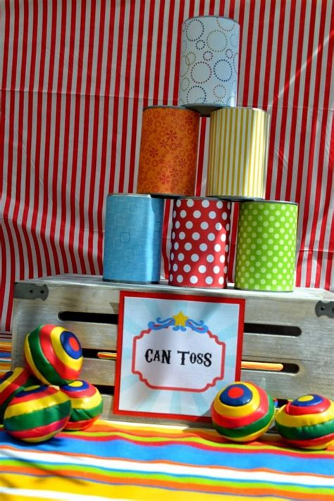 school themed games boys circus themed birthday party can toss game ideas dj