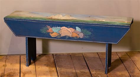 hand painted bench americana hand painted nautical themed bench at 1stdibs