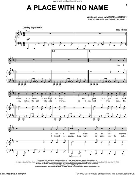 A Place Piano Sheet Jackson A Place With No Name Sheet For Voice Piano Or Guitar