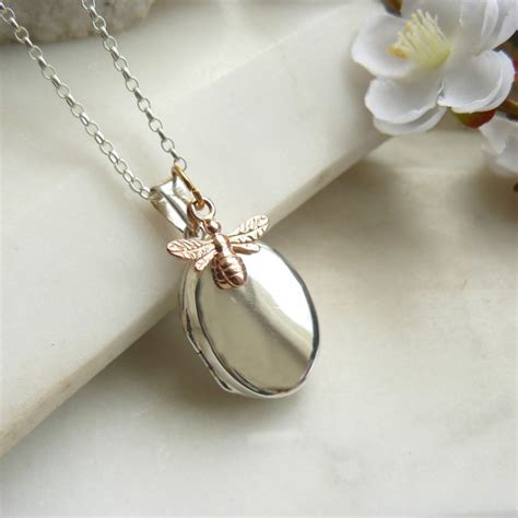 bee silver locket necklace