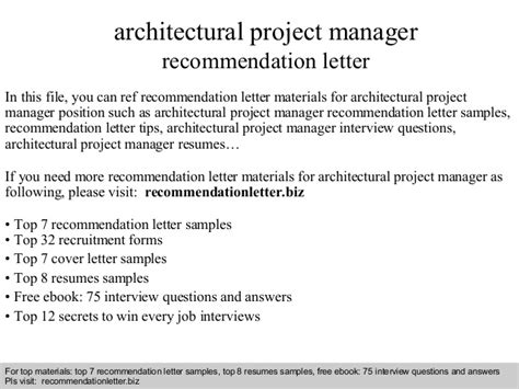 Architectural Manager by Architectural Project Manager Recommendation Letter
