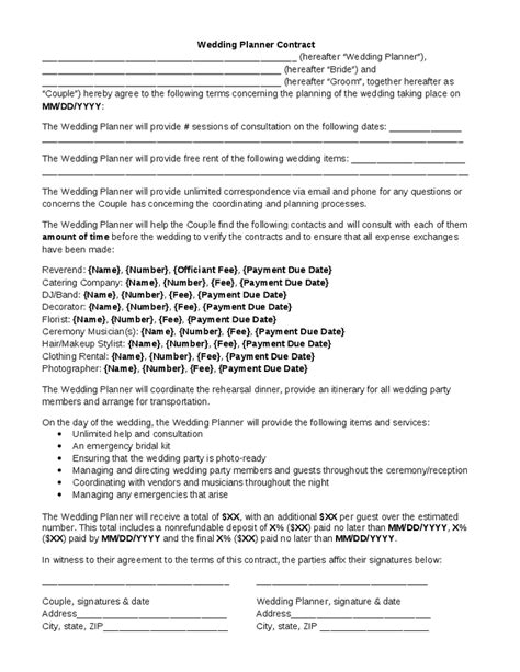 contracts for event planners templates wedding planner contract wedding planner contract