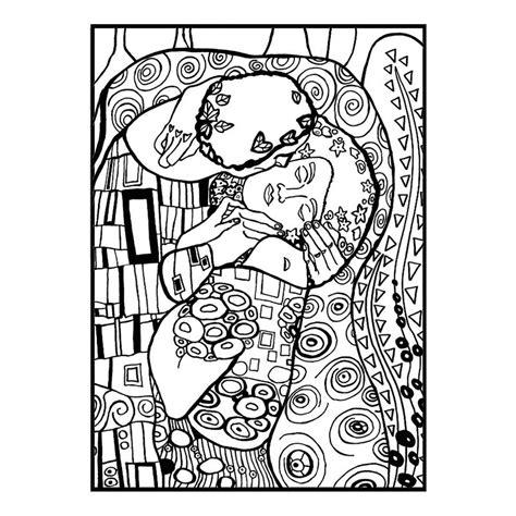 Dessin Feutres Velours Klimt Le Baiser 47cm Tableau Coloriage Pour Enfant De 10 Ans L