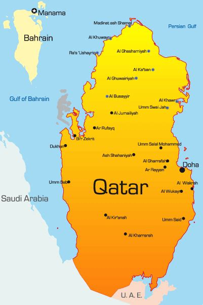 middle east map qatar qatar map showing attractions accommodation