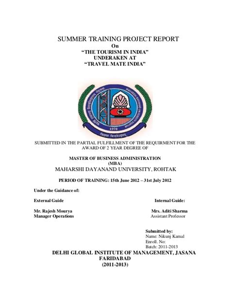 Summer Internship Project Topics For Mba Marketing by Summer Project Report Mdu