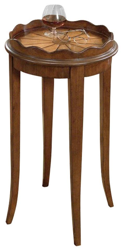 cherry wood accent tables butler specialty plantation cherry scalloped round wood