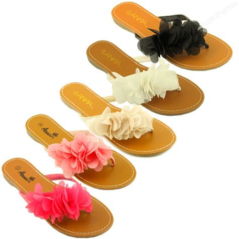 sandals with flowers on them womens sandals ruffle flower thongs flats sandal