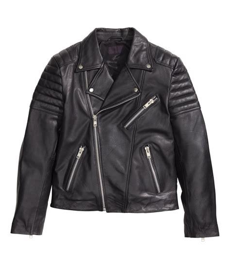 Jaket M h m leather biker jacket in black for lyst