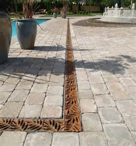 Paver Patio Drainage Paver Color Pool Landscaping Iron Age Designs Iron Drainage Grate With Mitered Corners In