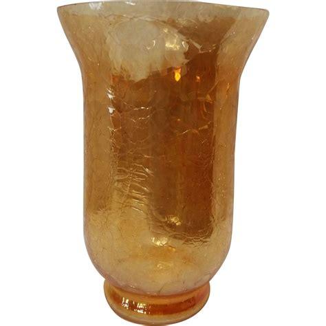 Crackled Glass Vase by Vintage Marigold Crackle Glass Vase